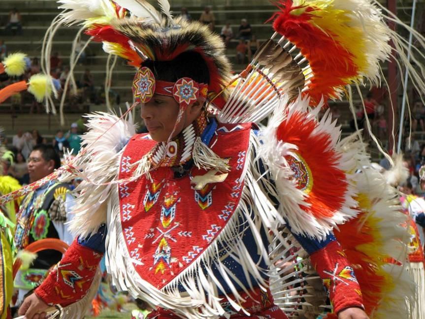 native american in full garb